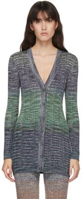 Missoni Green and Purple Knit Colorblock Cardigan