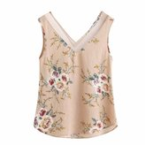 Aribelly Women's Floral Casual Sleeveless Crop Top Vest Tank Shirt Blouse Cami Top (S, )