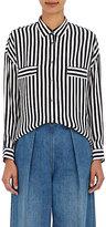 TOMORROWLAND Women's Striped Georgette Blouse-NAVY