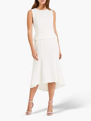 Phase Eight Kerry Cut Out Detail Peplum Midi Dress, Ivory