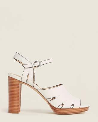 Nine West White Delilah Leather Sandals