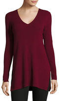 Vince Camuto V-Neck Vented Rib-Knit Sweater