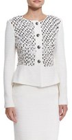 St. John Bella Knit Sequin Peplum Jacket, Cream Multi