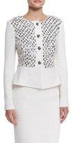 St. John Bella Knit Sequin Peplum Jacket, Cream Multi
