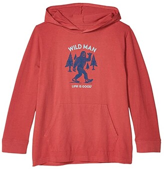 Life is Good Wild Man Hooded Crusher Tee (Little Kids/Big Kids) (Faded Red) Boy's Clothing