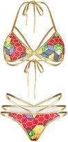 Sundray Sexy Kente Tribal Printed Halter 3 String Thong Bikini Sets for Women S