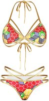 Sundray Women's Royatly Tribal Printed Gold Metallic Cutout Bikini Sets M