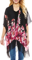 Asstd National Brand Pink and Red Floral Tapered Fringe Kimono