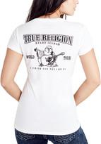 True Religion Women's Tee Shirts WHITE - White Classic Logo Deep V-Neck Tee - Women