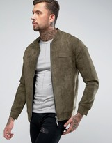 Religion Faux Suede Bomber Jacket