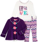Kids Headquarters Purple Rose Button Jacket Set - Infant & Toddler
