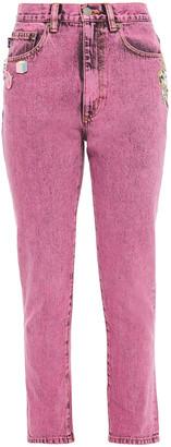 Marc Jacobs Embellished Appliqued High-rise Skinny Jeans