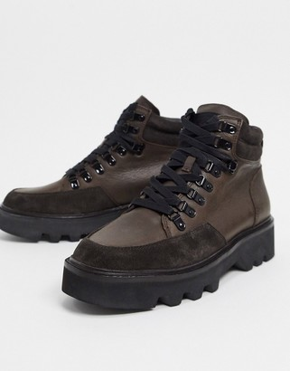 AllSaints lodge hiker boots in brown
