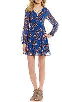 I.N. San Francisco Lattice-Front Long Sleeve Floral A-Line Dress