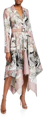 Badgley Mischka Floral Belted Handkerchief Shirtdress
