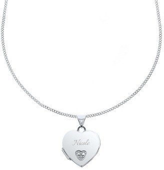 Personalised Sterling Silver and Cubic Zirconia Children's Heart Locket Necklace