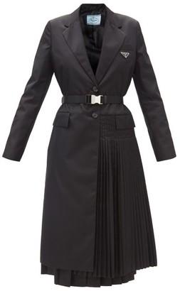 Prada Logo-plaque Side-pleat Single-breasted Nylon Coat - Black