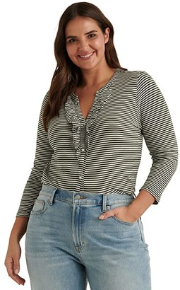 Lucky Brand Long Sleeve Button-Up Striped Ruffle Henley Top (Olive Stripe) Women's Clothing