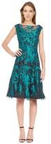 Aidan Mattox Cap Sleeve Embroidered Dress.