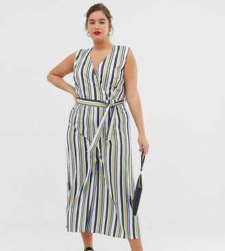 Unique21 Hero belted striped jumpsuit