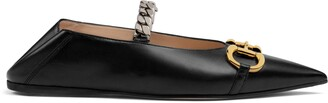 Gucci Women's leather ballet flat with Horsebit