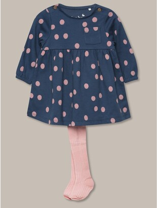 M&Co Spotted dress and tights set (Newborn-18mths)