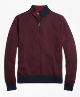 Brooks Brothers Supima® Cotton Cashmere Herringbone Half-Zip Sweater