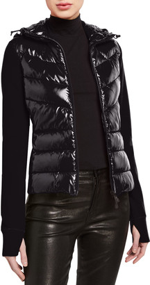 MONCLER GRENOBLE Nylon Down-Knit Hooded Zip Cardigan