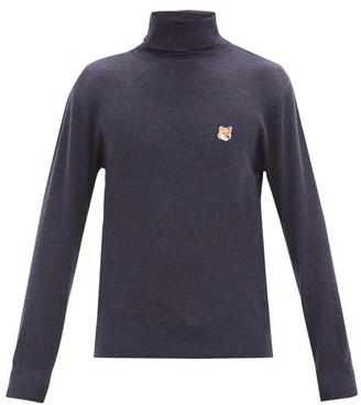 MAISON KITSUNÉ Fox Head-patch Wool Roll-neck Sweater - Navy
