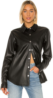 Alexander Wang Stretch Washable Faux Leather Blouse
