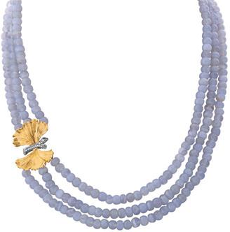 Michael Aram Butterfly Ginkgo Triple-Strand Necklace w/ Chalcedony