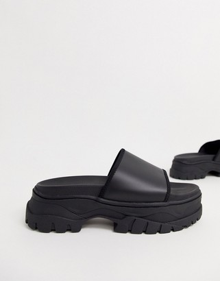 ASOS DESIGN sliders in black with chunky sole