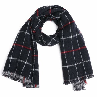 Jeff & Aimy Womens Warm Cozy Wool Blend Cashmere Feel Winter Scarf for Women Soft Woven Scarves Plaid Pattern Black/White