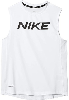 Nike Kids Pro Sleeveless Fitted Tank Top (Little Kids/Big Kids) (Black/White) Boy's Clothing