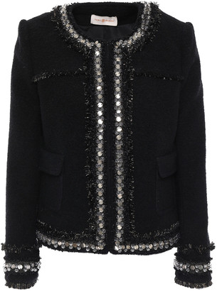 Tory Burch Embellished Wool And Cotton-blend Boucle Jacket