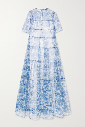 STAUD Hyacinth Tiered Printed Crinkled-organza Maxi Dress - Blue