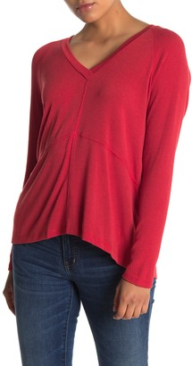 Lush V-Neck Seam Detail Knit Sweater