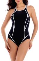 Miraclesuit R) Line Up One-Piece Swimsuit