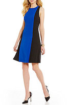Kasper Stretch Crepe Colorblock Sleeveless Sheath Dress