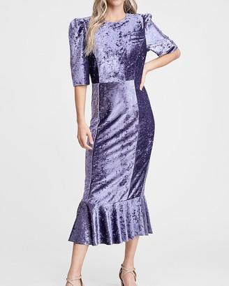Express En Saison Crushed Velvet Midi Dress