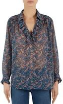 Gerard Darel Floral Print Ruffled Shirt