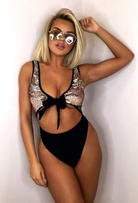 Pink Boutique Dubai Black Sequin Tie Front Cut Out Swimsuit