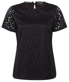 Dorothy Perkins Womens Black Lace Fitted T