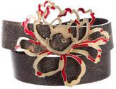 Roberto Cavalli Leather Floral-Embellished Belt