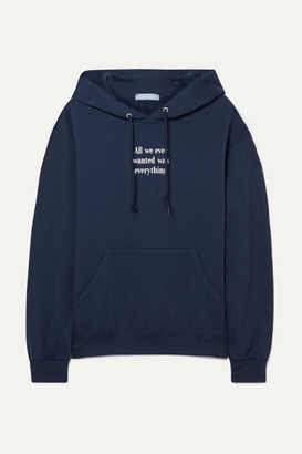 PARADISED All We Wanted Printed Cotton-blend Jersey Hoodie - Navy