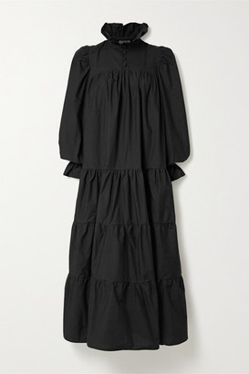 AVAVAV Ruffled Tiered Cotton-poplin Maxi Dress - Black