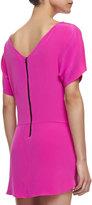 Milly Boat-Neck Silk Shift Dress, Shocking Pink