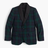 J.Crew Boys' shawl-collar tuxedo jacket in Black Watch English wool