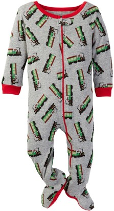 Leveret Train Print Footed Pajama (Baby Boys)