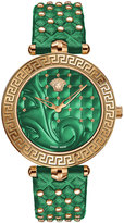 Versace 40mm Vanitas Watch w/ Studded Leather Strap, Green